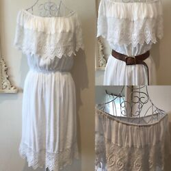 TOPSHOP white boho dress with Bardot neckline and lace detailing SIZE 10 12 GBP 28.00