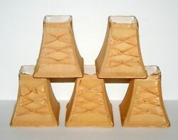 5 Gold Silk Square Chandelier Shades Clip On Graduated 5 Inch w Kross Bows $39.99
