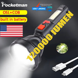 120000LM LED Flashlight USB Rechargeable Searchlight Torch Spotlight 4 Modes $10.44
