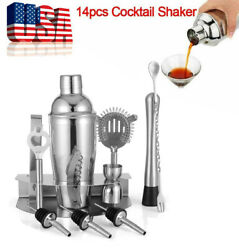 12x Home Cocktail Shaker Set Stainless Steel Bartender Kit Drink Mixing Bar Tool $16.59