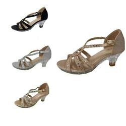 New Kids Girls High Heels Shoes Party Dress Shoes Ankle Strap Shiny Sandal Size $19.99
