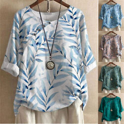 Womens Boho Print Tunic Pullover Tops Ladies Round Neck T Shirt Blouse Plus Size $19.89