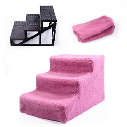 Easy 3 Steps Dog Stairs for High Bed Pet Cat Ramp Ladder with Removable Cover $22.99