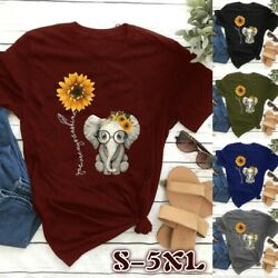 Summer Women Shirt Cute Small Elephant Sunflower Graphic Printed Casual T shirts $12.45