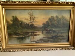 Antique Oil Painting Field Cows House Vintage 1890 ish Unsigned? Old Gold Frame $225.00