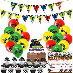 Monster Trucks Birthday Party for Kid Vehicles themed Toddler Party Supplies $19.19