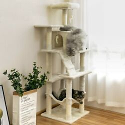 63.8 in Cat Tree amp; Condo Stable Cat Tower Cat Condo Pet Play House Beige $63.99