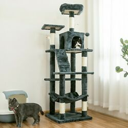 63.8 in Cat Tree amp; Condo Stable Cat Tower Cat Condo Pet Play House Smoky Gray $63.99