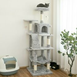63.8 in Cat Tree amp; Condo Stable Cat Tower Cat Condo Pet Play House Light Gray $63.99
