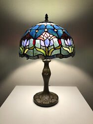 """Enjoy Tiffany Style Table Lamp Blue Stained Glass Tulips Flower Vintage 19""""H12""""W $119.99"""