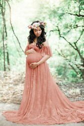 Women#x27;s Maternity Maxi Dress Summer Photography Props Pregnant Gown Lace Dresses $33.99