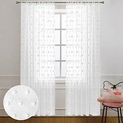 White Curtains 96 Inches Long for Living Room Set 2 Panels Rod Pocket Soft Se... $35.67