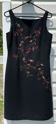 Ann Taylor Cocktail Black Dress with Embroidery $20.99