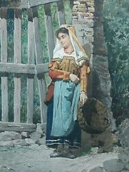 Italian Antique Painting Watercolor Filippo Indoni jr. 1842 1908 Young Girl 1 2 $3450.00