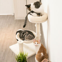 28.7 in Cat Tree Pet Condo Small Cat Tower for Kittens Cat Scratching Post Beige $39.99