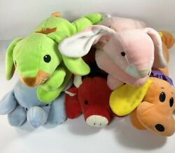 Ty Pillow Pals Plush Lot of 4: Woof Dog Red Bull Pink Carrots Bunny Squirt $17.00