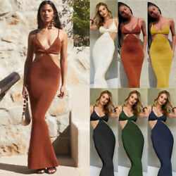 Women Summer Sexy Bodycon Dress Ladies Holiday Evening Party Cocktail Midi Dress $18.89