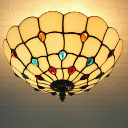 Tiffany Ceiling Light Fixture Antique Shell Stained Glass Chandelier for Bedroom $98.00