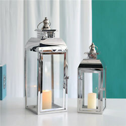 Set of 2 Stainless Steel Decorative Candle Lanterns 20.5quot;amp;15quot; High Metal $67.99