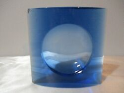 VINTAGE BLUE GLASS OPTIC LENS POSSIBLY FOR OLD LANTERN 5quot; TALL DAMAGED CORNERS $1.99