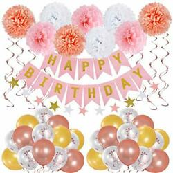Birthday Party Decorations for Girls 1st 2nd 3rd Pink Rose Gold Party for women $21.99