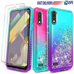 For LG K22 K22 Plus Case Liquid Glitter Cute Cover Tempered Glass Protector $10.99