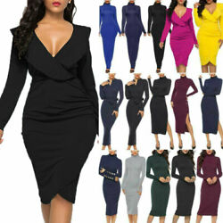Plus Size Women#x27;s Solid Long Sleeve Bodycon Dress Evening Party Cocktail Dresses $24.69