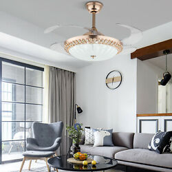 42quot; Gold Invisable Ceiling Fan Lamp Remote LED Crystal Lighting Chandelier W RC $131.08