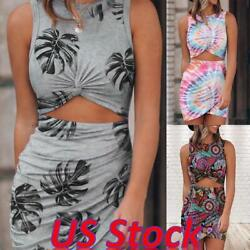 Women Sleeveless Bodycon Sundress Ladies Sexy Cut Out Mini Cocktail Dresses US $15.99