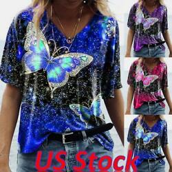 Women#x27;s Boho Short Sleeve Blouse T Shirt Ladies Casual Floral Tee Tops Plus Size $13.59