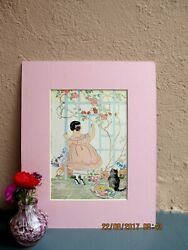 vintage illustration of girl and cat in garden by Janet Laura Scott 1935 $15.50