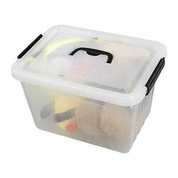 Cand 12 Quart Plastic Bin with Black Handle Latching Boxes Set of 1 $31.35