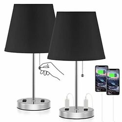 Innqoo Bedroom Lamps for Nightstand Black Bedside Lamps Set of 2 with AC Po... $56.40