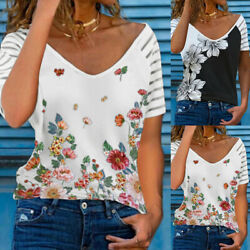 Womens V Neck Floral Print Casual Blouse Tops Ladies Summer Short Sleeve T Shirt $13.79