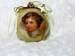 Victorian Angel Christmas Bulb Glazed Paper Covered Glass 3quot; Satin Ribbon Cord $26.00