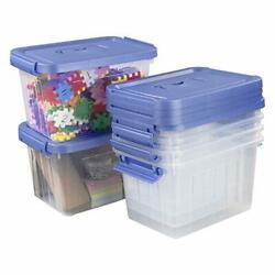 Utiao Clear Plastic Bin with Lid 6 Quart Latching Box with Handle 6 Packs $31.61