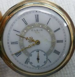 Antique Elgin Pocket Watch in Gold Fill Hunting Case with Fancy Dial BEST OFFER $195.00