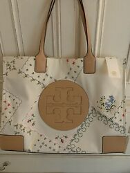 NEW TORY BURCH Ella Large Canvas Floral Tote #AFTERNOON TEA 70501 Authentic $145.00