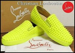 Christian Louboutin Roller Boat Yellow Spikes Sneakers Size 41 US8 Slip On $1199.99