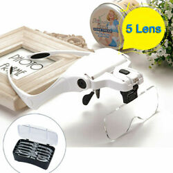 Magnifying LED Eyeglass Extension Loupes Magnifiers Jewelry Watches Repair Tools $13.95