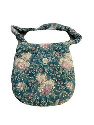 Hand Crafted Purse Large With Floral Design Dark Green Pink Roses Retro Vintage $8.00