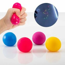 4 Pack Fluorescent Sticky Target Anti Stress Reliever Balls Globbles Squish ... $15.74