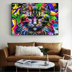 Psychedelic Cat Wall Art Canvas Paintings Poster Colorful Animals Home Decor Art $6.50