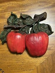 Vintage Wooden Double Apple Wall Plaque Country Decor $14.99