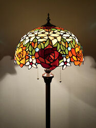 Enjoy Tiffany Style Floor Lamp Rose Flowers Stained Glass Vintage EF1603 64H16W $229.99
