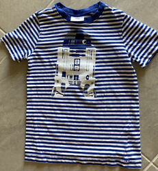 Hanna Andersson Boys Star Wars Blue amp; White Stripe Top Size 120 or 6 7 EUC $6.95