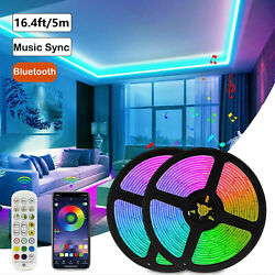 16.4ft LED Strip Lights 5050 RGB Music Sync Bluetooth for Rooms TV Bar Remote US $15.89