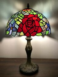 """Enjoy Tiffany Style Table Lamp Stained Glass Rose Flower Vintage 19""""H12""""W $129.99"""