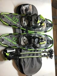 Yukon Charlie#x27;s Mountain Profile Snowshoes Green with Poles amp; Carrying Bag $80.00