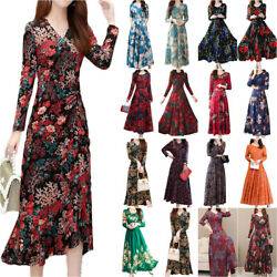 Women Long Sleeve Floral Midi Maxi Dress Cocktail Evening Party Swing Dress $15.49